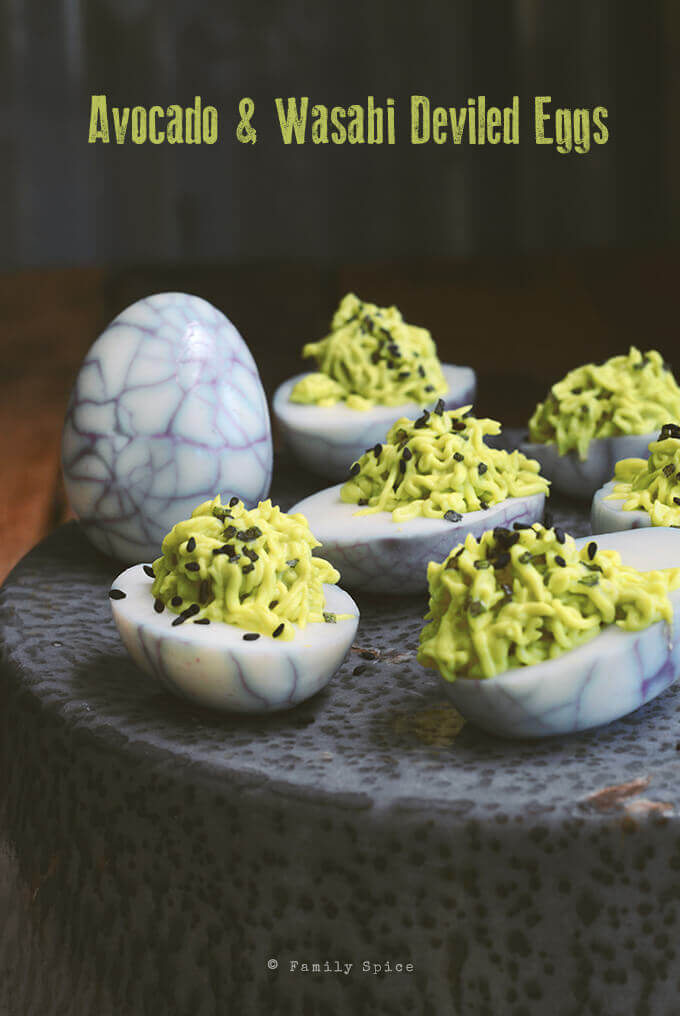 Avocado and Wasabi Deviled Eggs by FamilySpice.com