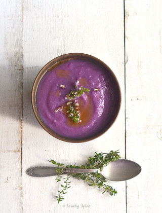 Purple Sweet Potato Cauliflower Soup by FamilySpice.com