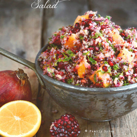 Cranberry Quinoa Salad with Orange, Mint and Kale