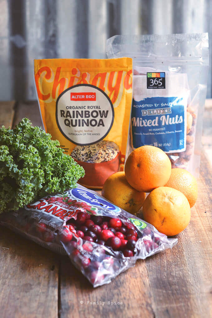 Ingredients for Cranberry Quinoa Salad with Orange, Mint and Kale by FamilySpice.com by FamilySpice.com