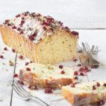 Olive Oil Lemon Cake with Basil and Pomegranate by FamilySpice.com