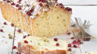 Olive Oil Lemon Cake with Basil and Pomegranate