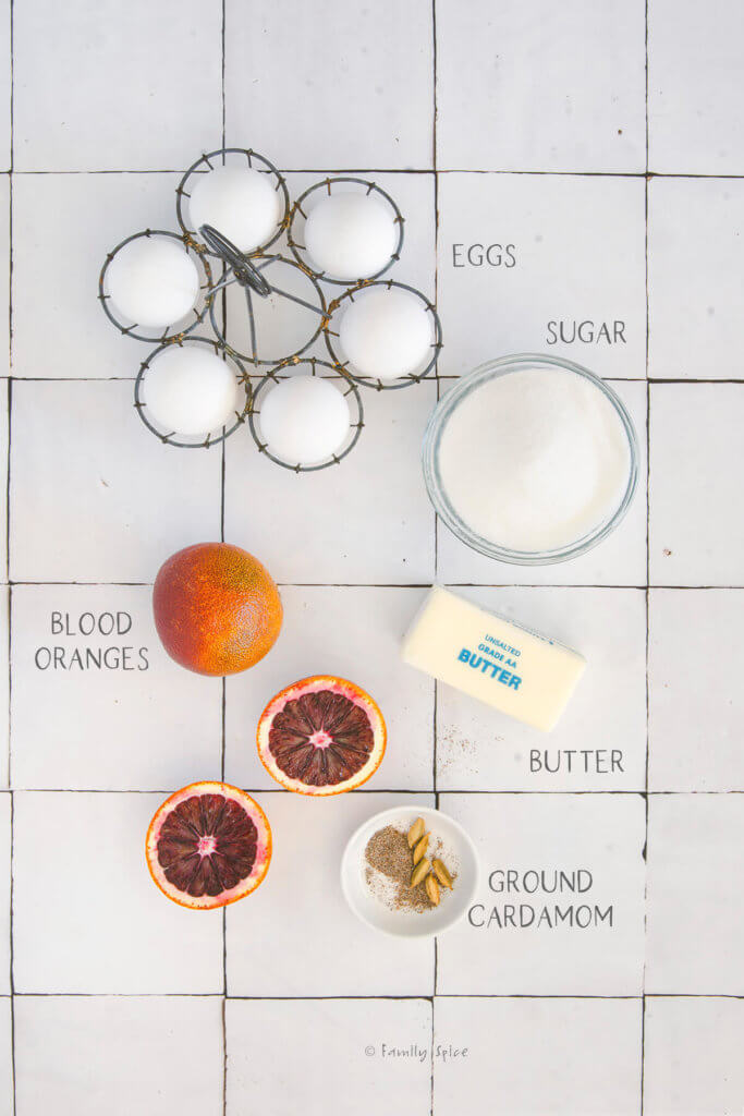 Ingredients needed and labeled to make blood orange curd
