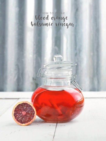 Blood orange infused balsamic vinegar in a glass bottle by FamilySpice.com