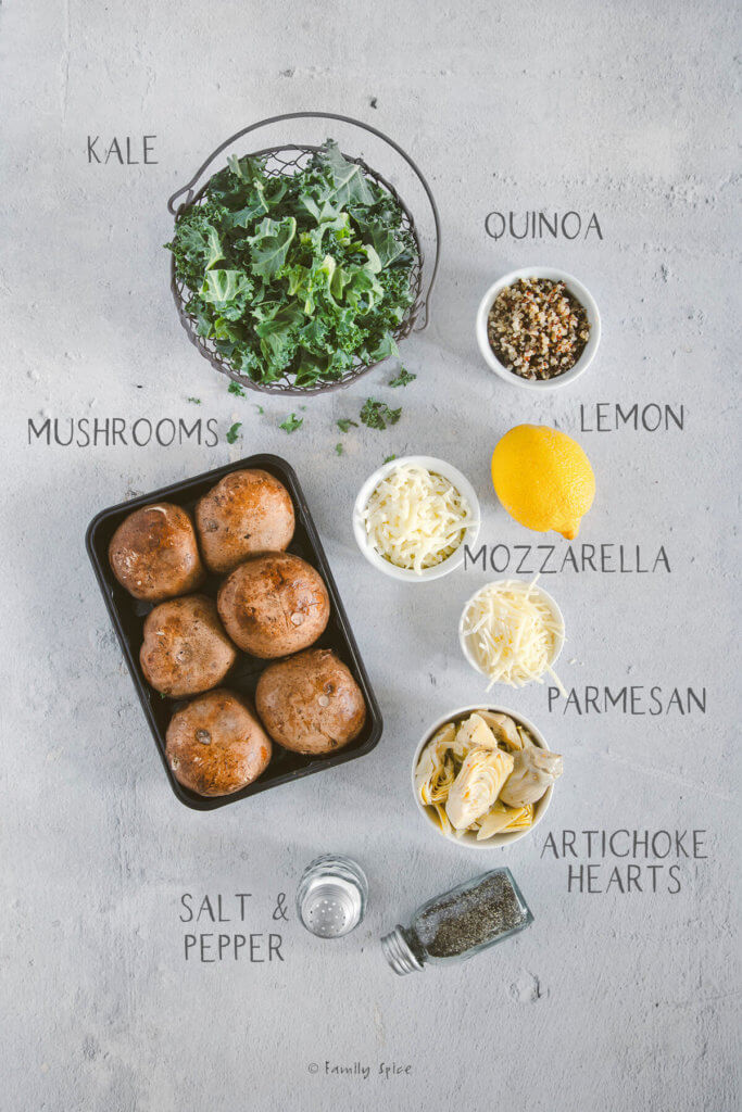 Ingredients needed and labeled to make quinoa and cheese stuffed mushrooms