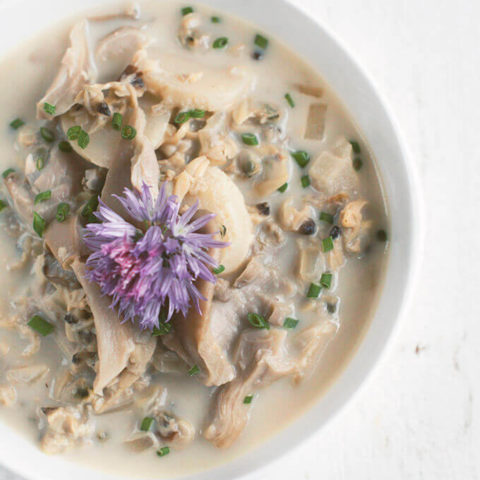 Asian Clam Chowder with Oyster Mushrooms