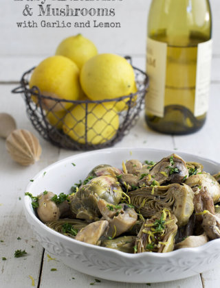 Braised Baby Artichokes and Mushrooms with Garlic and Lemon