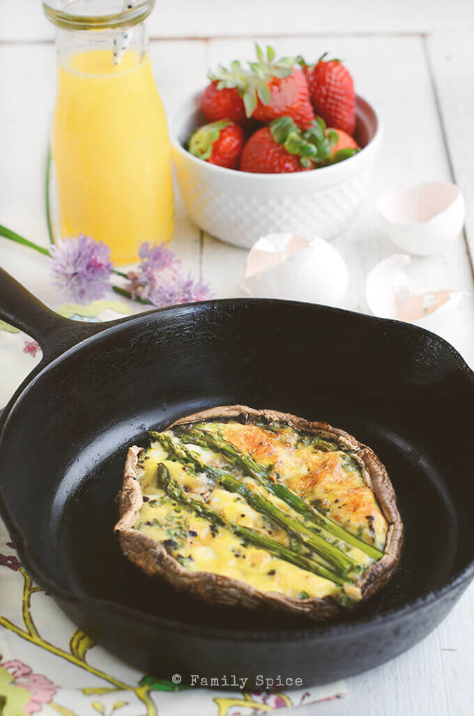 Closeup of Portobello and Asparagus Quiche by FamilySpice.com