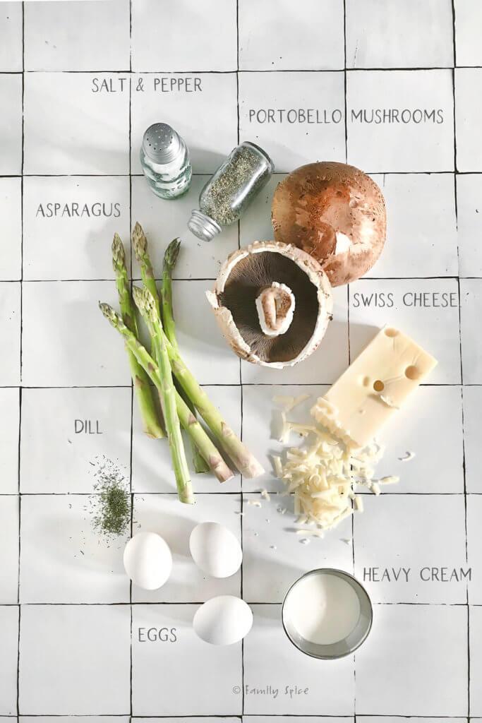 Ingredients to make portobello keto quiches