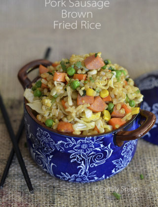 Pork Sausage Fried Brown Rice by FamilySpice.com