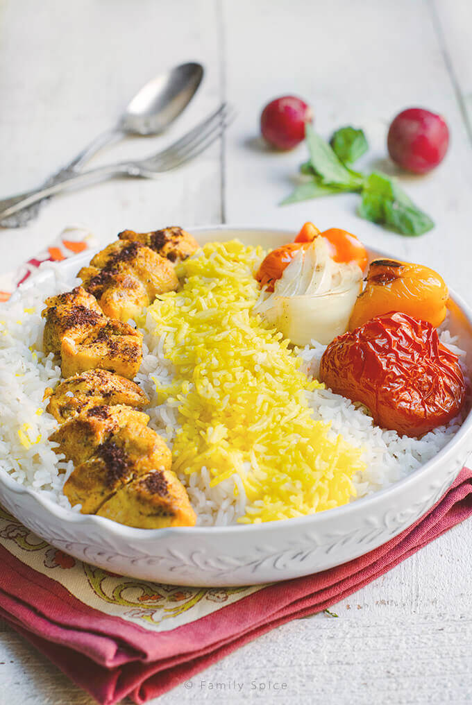Persian Chicken Kabob (Joojeh Kabob or Kabob-eh Morgh) by FamilySpice.com