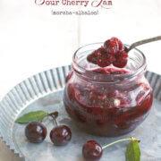 Closeup of a jar of Sour Cherry Jam (Moraba Albaloo) by FamilySpice.com