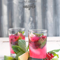 Side view of two glasses of red currant mojito with fresh mint and lime wedges by FamilySpice.com