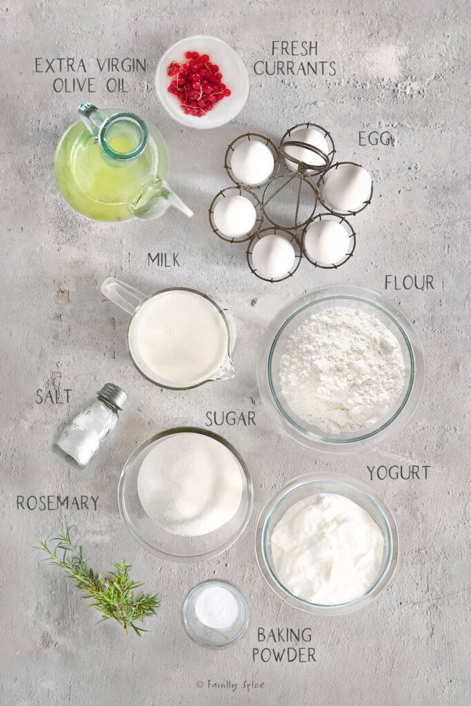 ingredients labeled and needed to make currant scones