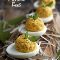 Ham and Pumpkin Deviled Eggs