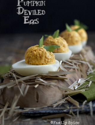 Ham and Pumpkin Deviled Eggs by FamilySpice.com