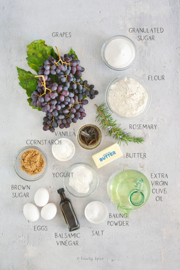 Ingredients labeled and needed to make upside down grape cake
