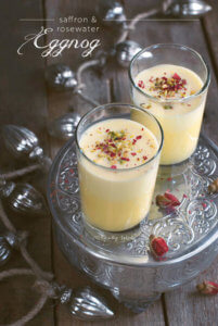 Closeup of 2 Glasses of Persian Eggnog with Saffron and Rosewater by Familyspice.com