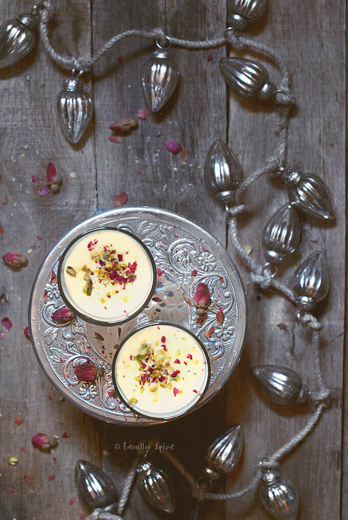 Overhead Picture of 2 Glasses of Persian Eggnog with Saffron and Rosewater by Familyspice.com