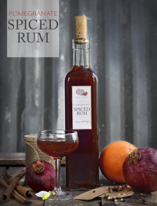Holiday Cocktails and Gifts: Pomegranate Spiced Rum and Smoked Rum by FamilySpice.com