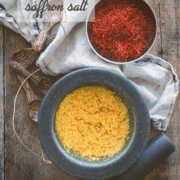 Overhead shot of saffron salt in a mortar and pestle by FamilySpice.com