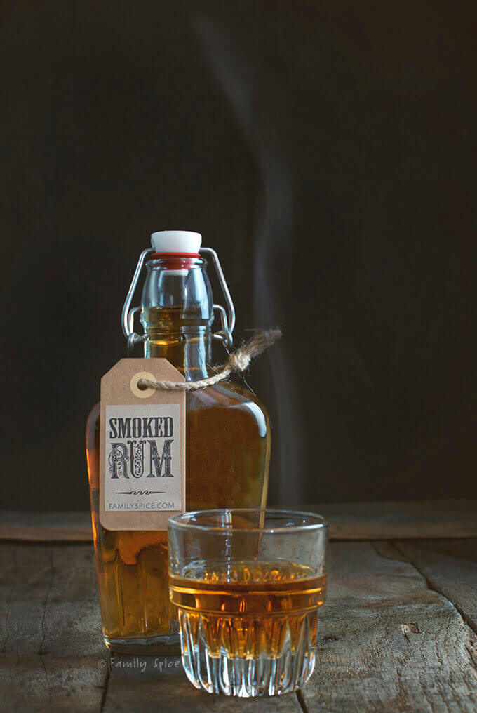 A bottle of smoked rum by FamilySpice.com