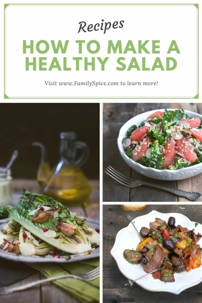 Collage of 3 different salad recipes