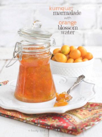 A bottle of kumquat marmalade by familyspice.com