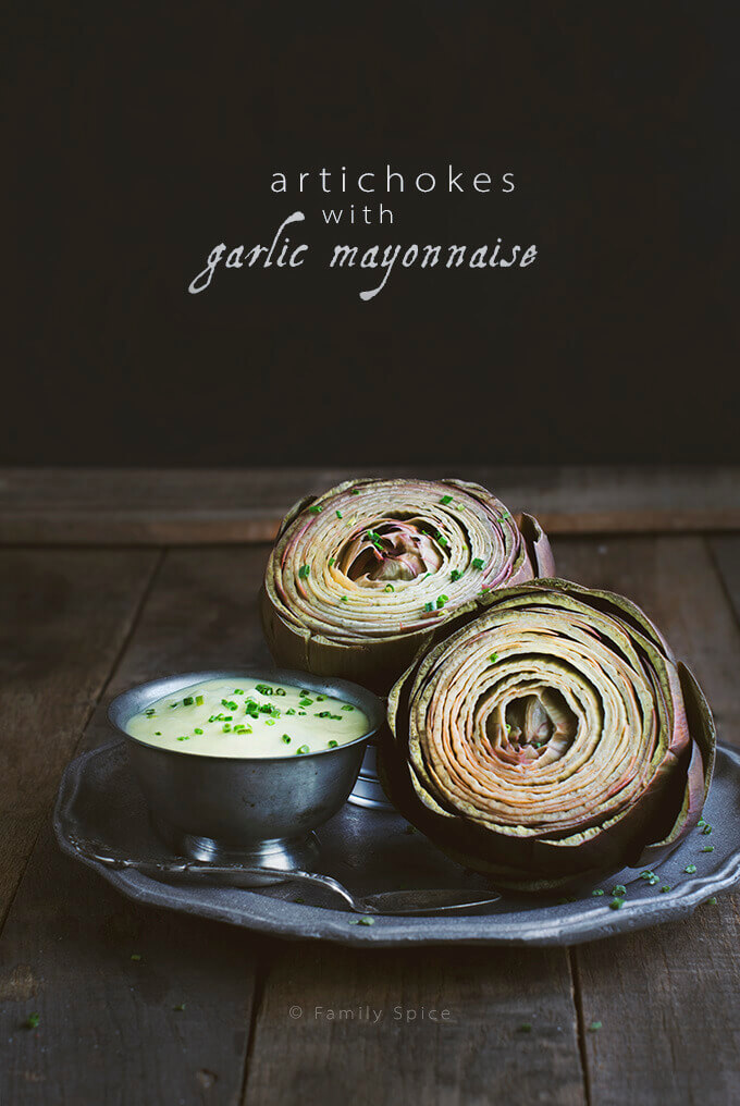 Two Steamed Artichokes with Garlic Mayonnaise by FamilySpice.com