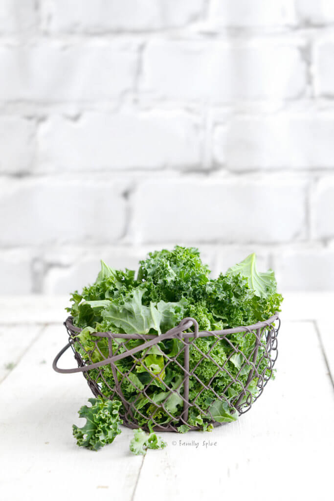 A wire basket with fresh kale in it on a white backgroud