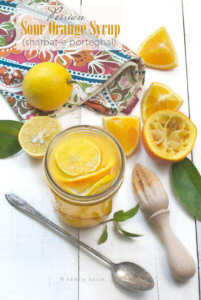 Overhead shot of Persian Bitter Orange Syrup (Sharbat-e Porteghal) by FamilySpice.com