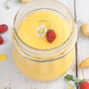pinterest image for olive oil lemon curd
