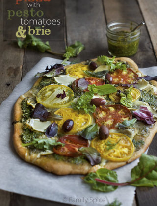 Find Your Inspiration with a Whole Wheat Pizza with Pesto, Tomatoes and Brie