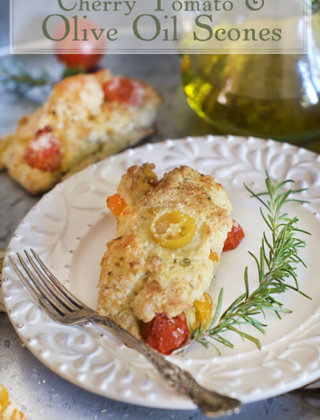 Cherry Tomato and Olive Oil Scones with Rosemary and Parmesan Cheese by FamilySpice.com