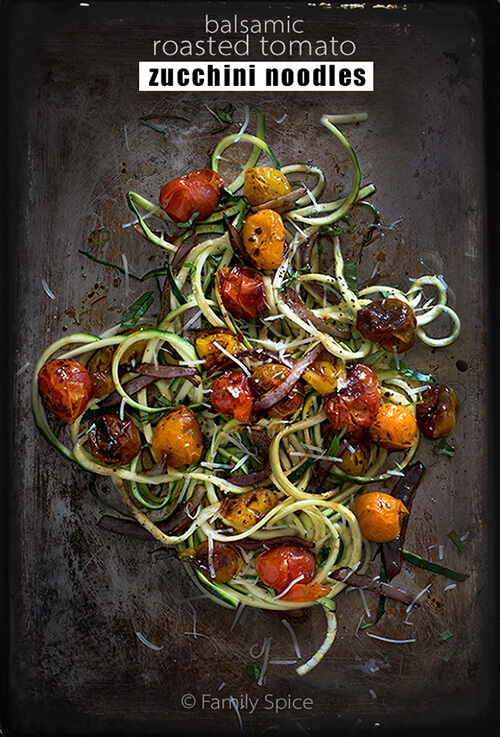 Spiralizing Craze: Balsamic Roasted Tomato Zucchini Noodles (Zoodles!)