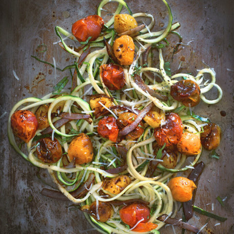 Balsamic Roasted Tomato Zucchini Noodles (Zoodles!)