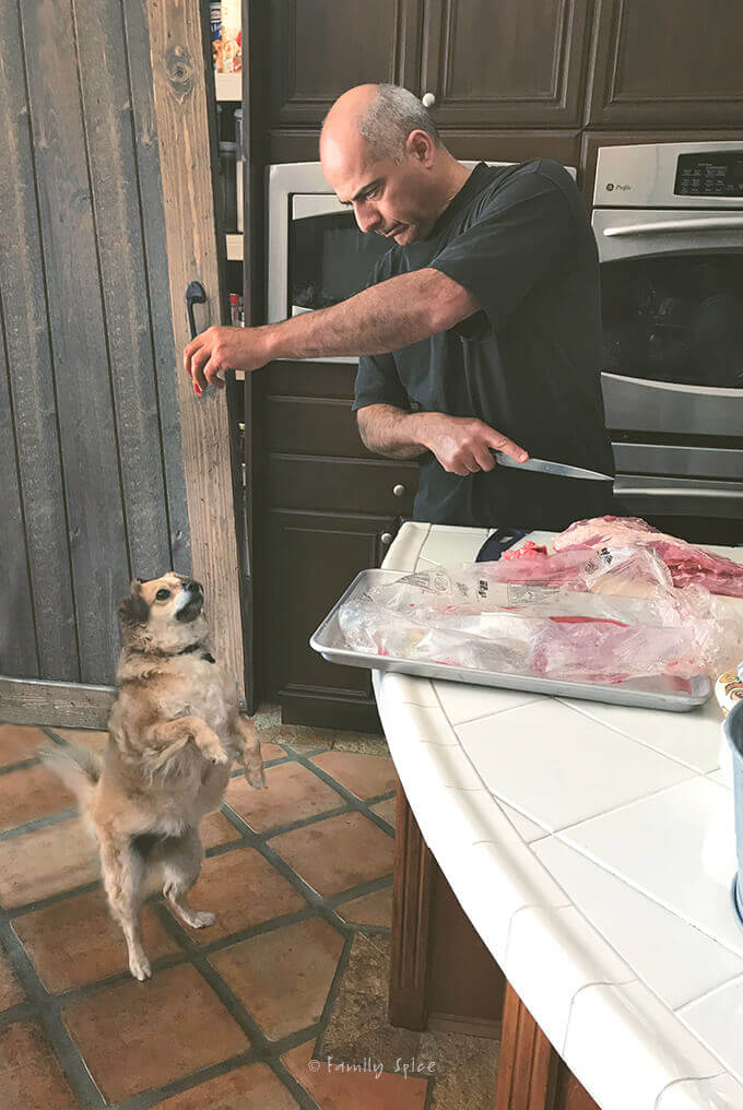 Trimming the brisket and feeding scraps of meat to the dog by FamilySpice.com
