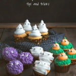 Collage of Halloween Cupcakes, including ghosts, monsters, mummies and pumpkins by FamilySpice.com