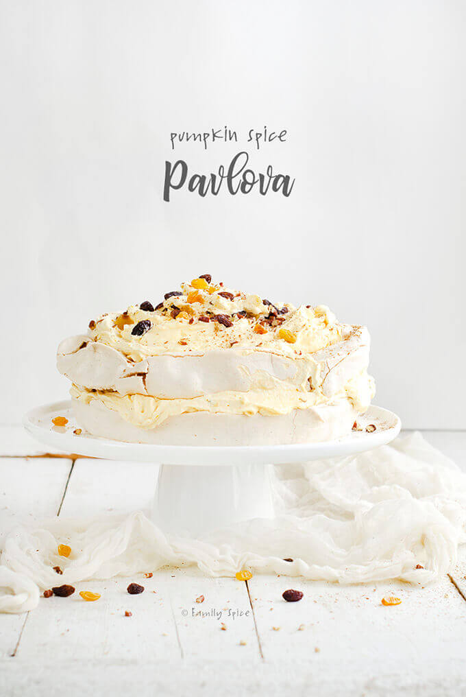 Pumpkin Spice Pavlova Cake with Pumpkin Whipped Cream