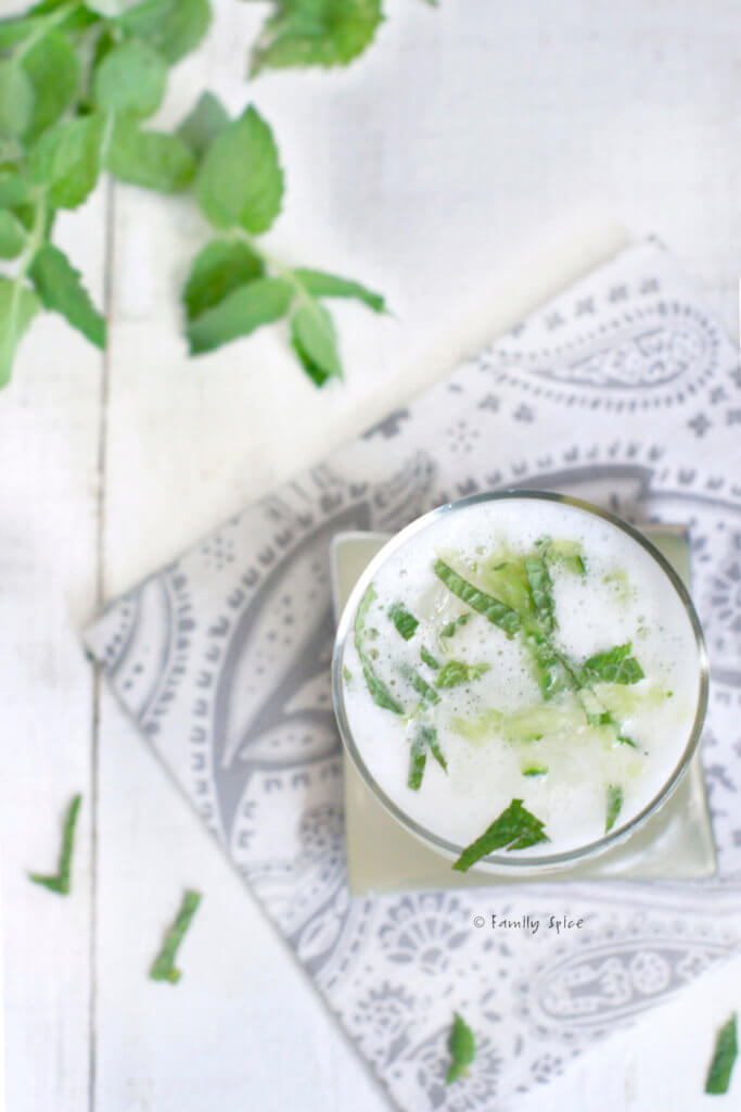 Top view of a vodka fizz garnished with fresh mint