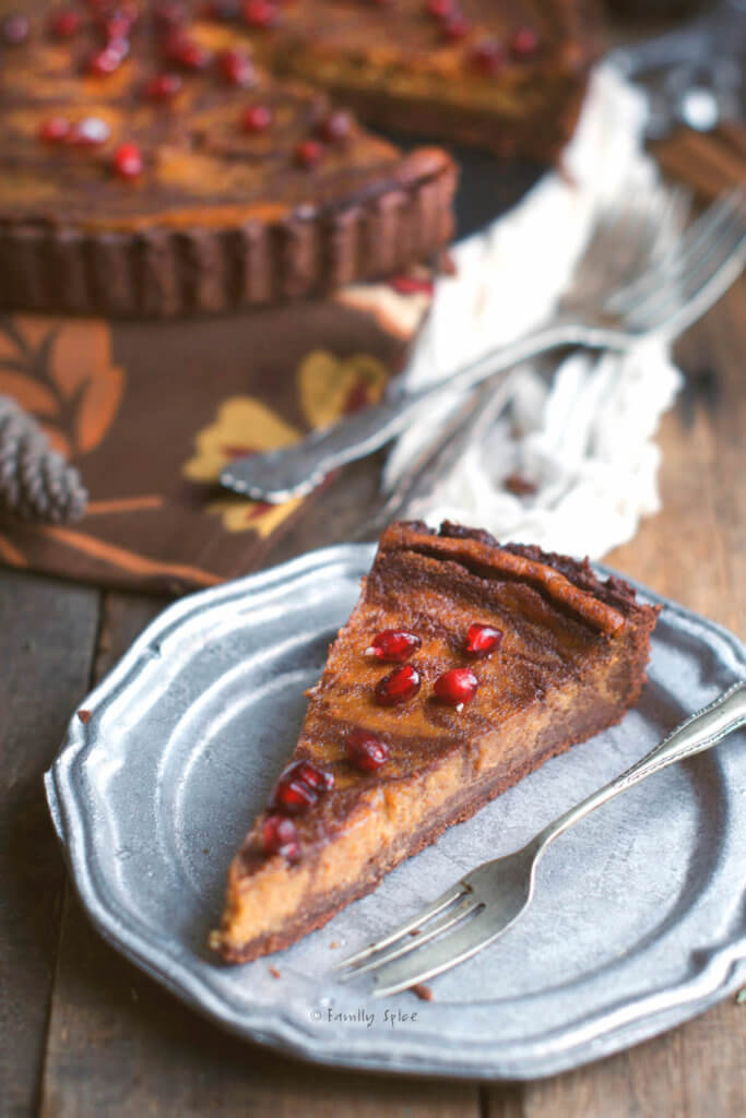 Close up of a slice of of a pumpkin pie with chocolate swirls baked in a chocolate pie shell topped with pomegranate arils