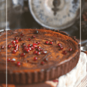 pinterest image for double chocolate pumpkin pie