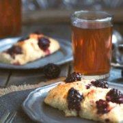pinterest image for olive oil blackberry scones