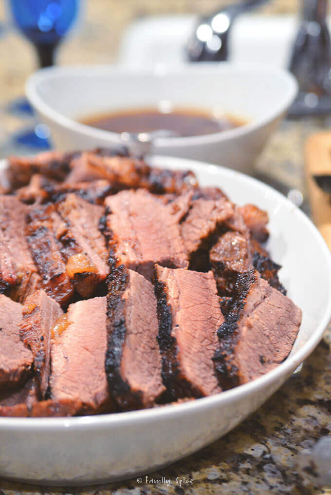 Dish of brisket by FamilySpice.com