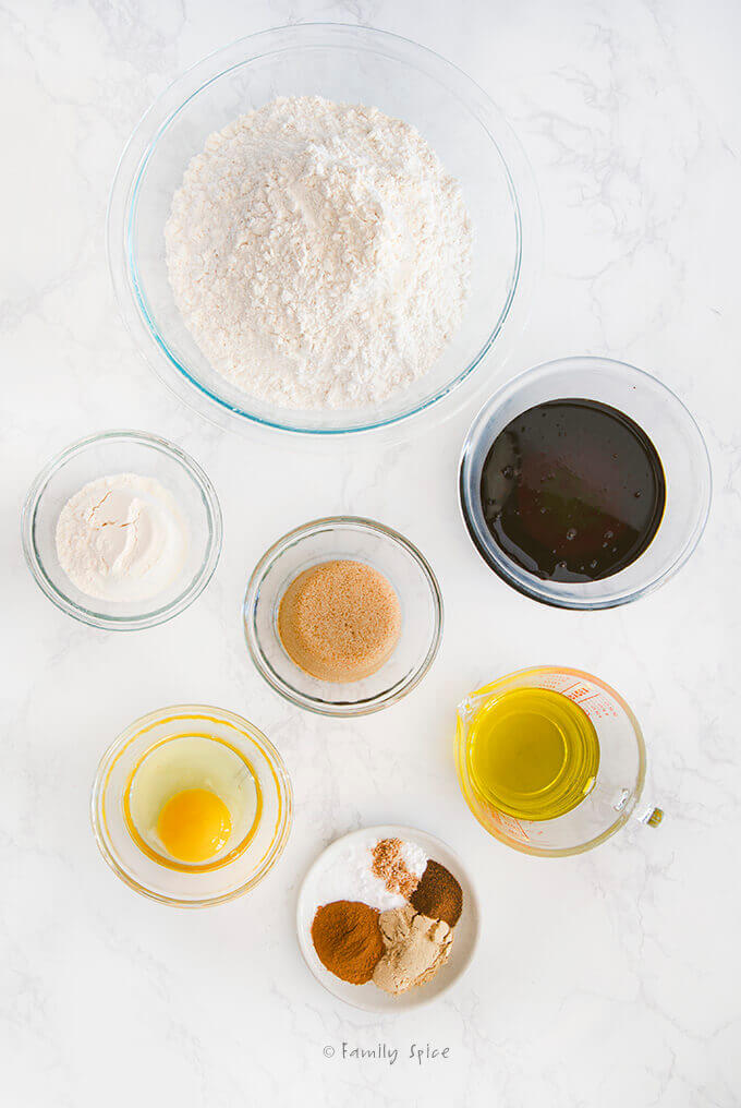 Ingredients to make Olive Oil Gingerbread Cookies by FamilySpice.com