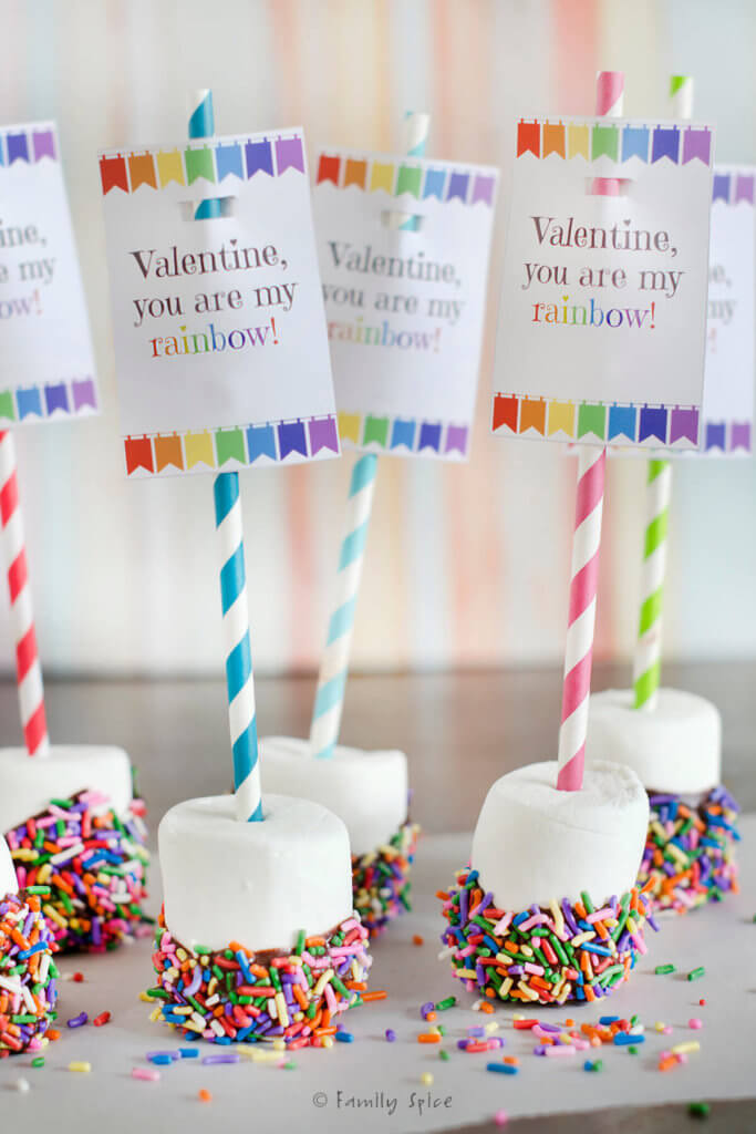 Close up of marshmallows dipped in chocolate with rainbow sprinkles attached to colorful straws with rainbow free valentine printable