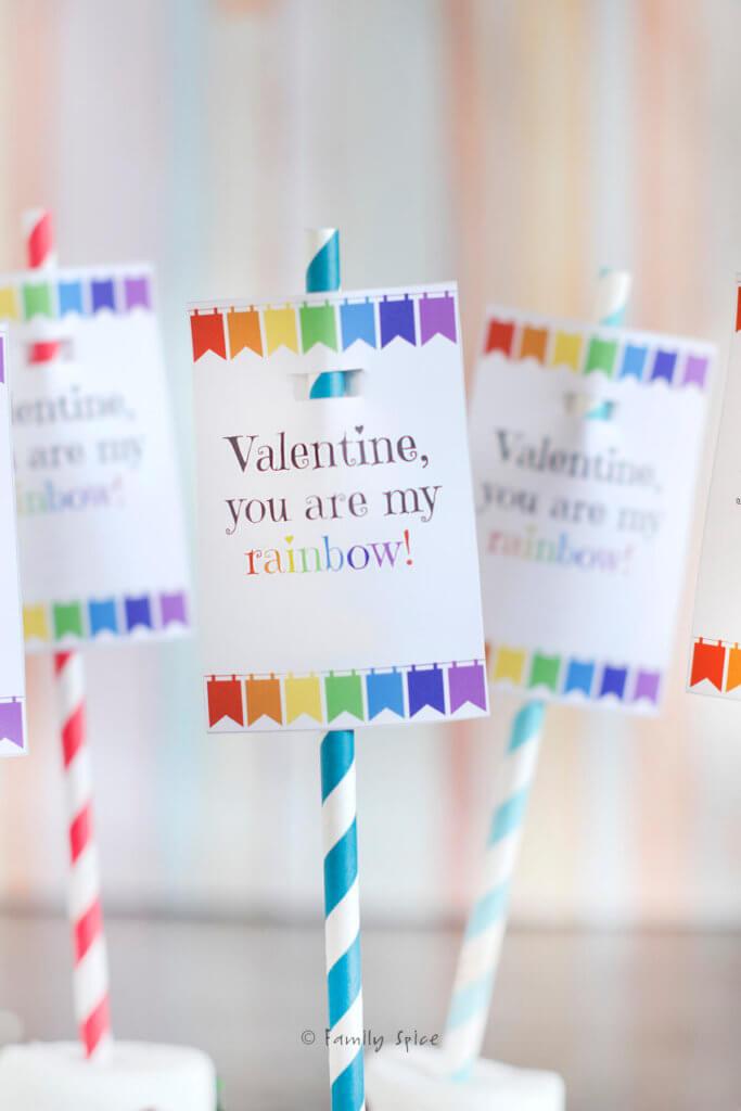 Closeup of rainbow free valentine printable