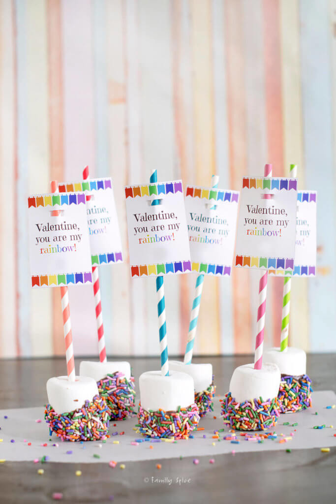 Marshmallows dipped in chocolate with rainbow sprinkles attached to colorful straws with rainbow free valentine printable