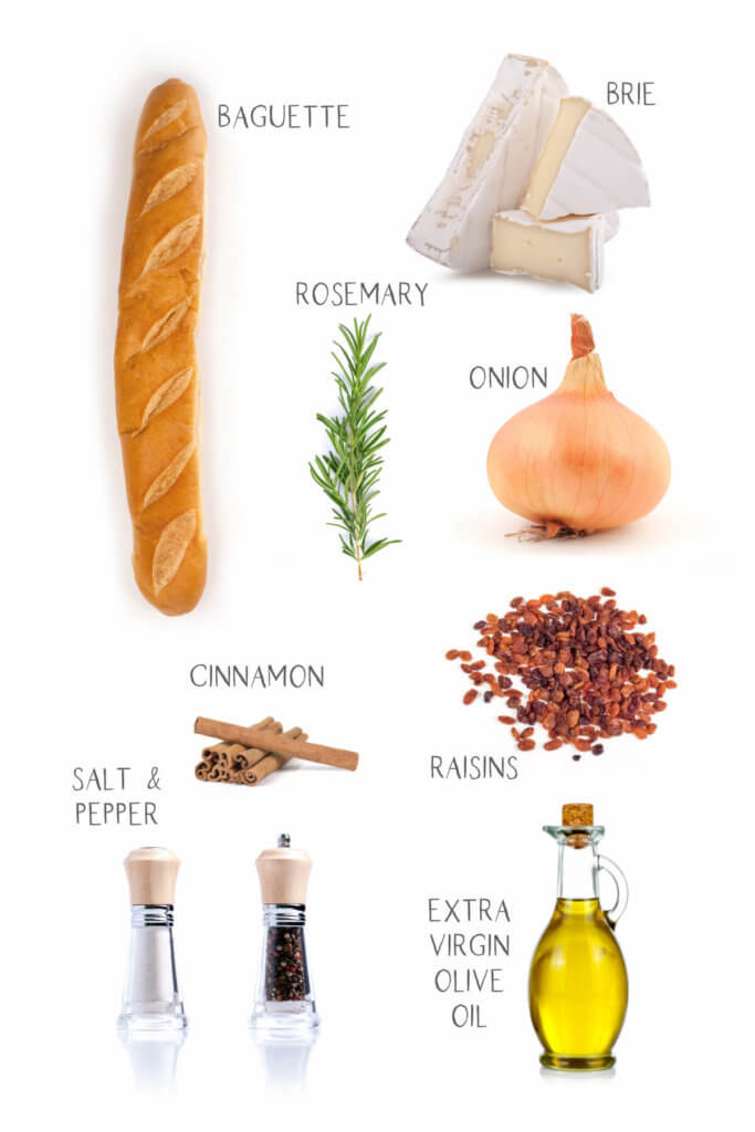 Ingredients labeled and needed to make toasted brie sandwich with raisins