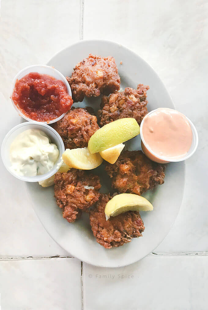 A plate of conch fritters by FamilySpice.com